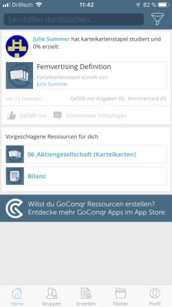 kostenlose KarteikartenApp GoConqr